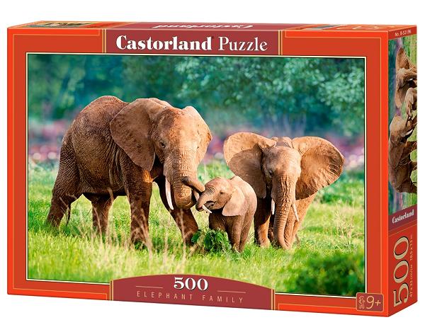 Пазл: Семья слонов, 500 элементов - Castorland