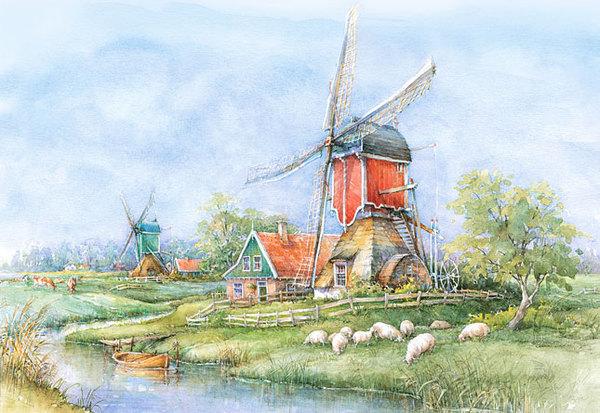 Пазл: Деревня, Голландия, 1000 элементов – Castorland