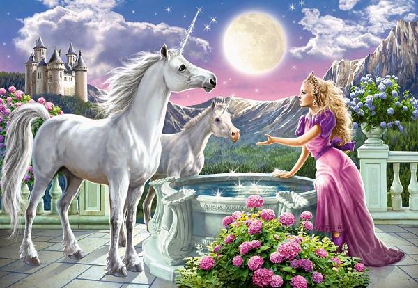 Пазл: Принцесса и ее единорог, 1000 элементов – Castorland