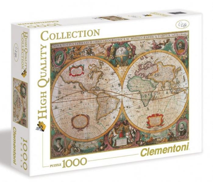 Пазл: Древняя карта мира, 1000 элементов – Clementoni