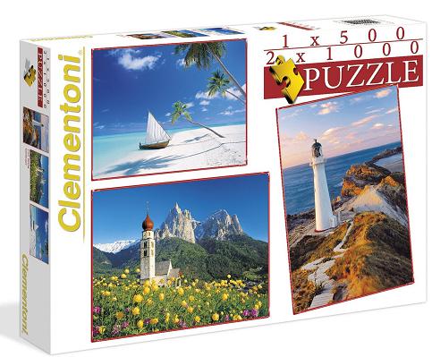 Подарочный набор из 3-х пазлов: Пейзажи - Clementoni