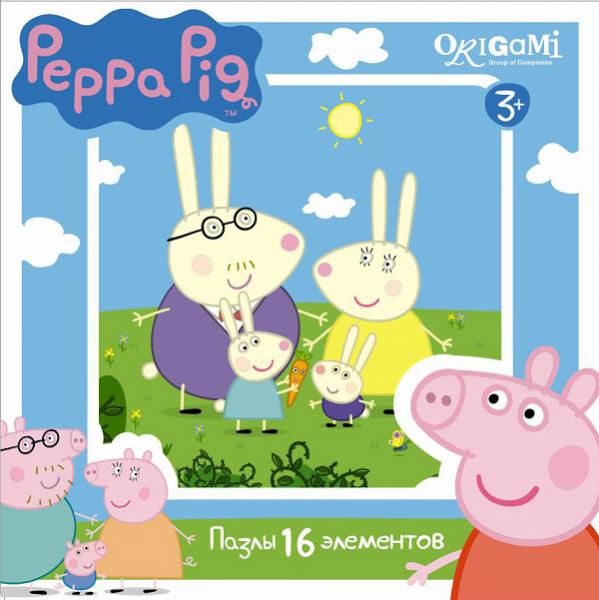 Пазл: Свинка Пеппа. Семья кроликов, 16 элементов - Origami Puzzle