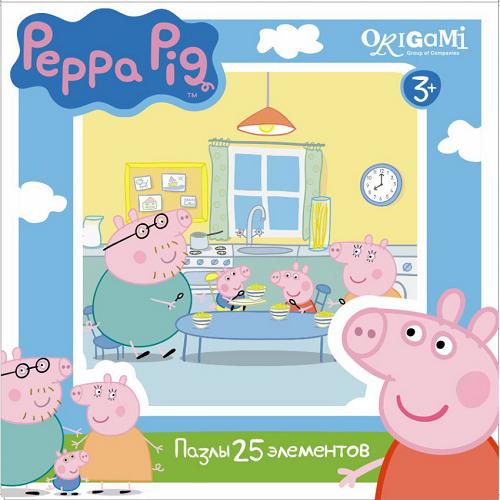 Пазл: Свинка Пеппа. Завтрак, 25 элементов – Origami Puzzle