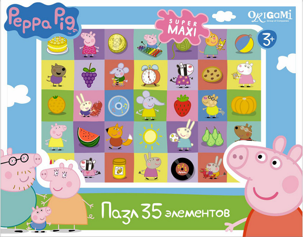 Пазл макси: Свинка Пеппа, Герои и предметы, 35 элементов – Origami Puzzle