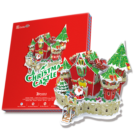 3D пазл: Сказочный рождественский замок, с подсветкой – CubicFun